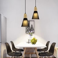 conical dining room ceiling lamp modern fabric 1 light 3 light black white pendant light with wooden cap e27