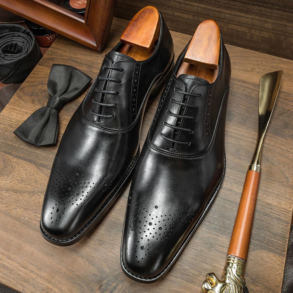 Hanmce الرجال الفاخرة أكسفورد فستان الزفاف أحذية من الجلد الحقيقي