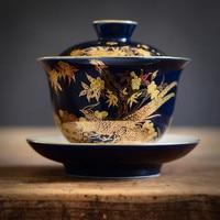 Jingdezhen Hand-painted Gold Enamel Ceramics Tea Tureen Indigo Glaze Sancai Cover Bowl KungFu Gaiwan Tea Cup Bowl Teaware