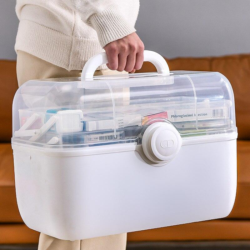 Пластиковый контейнер для первой помощи, коробка для хранения большой емкости, семейный аварийный набор, ручной медицинский сундук, медицинский шкаф, домашнее хранение