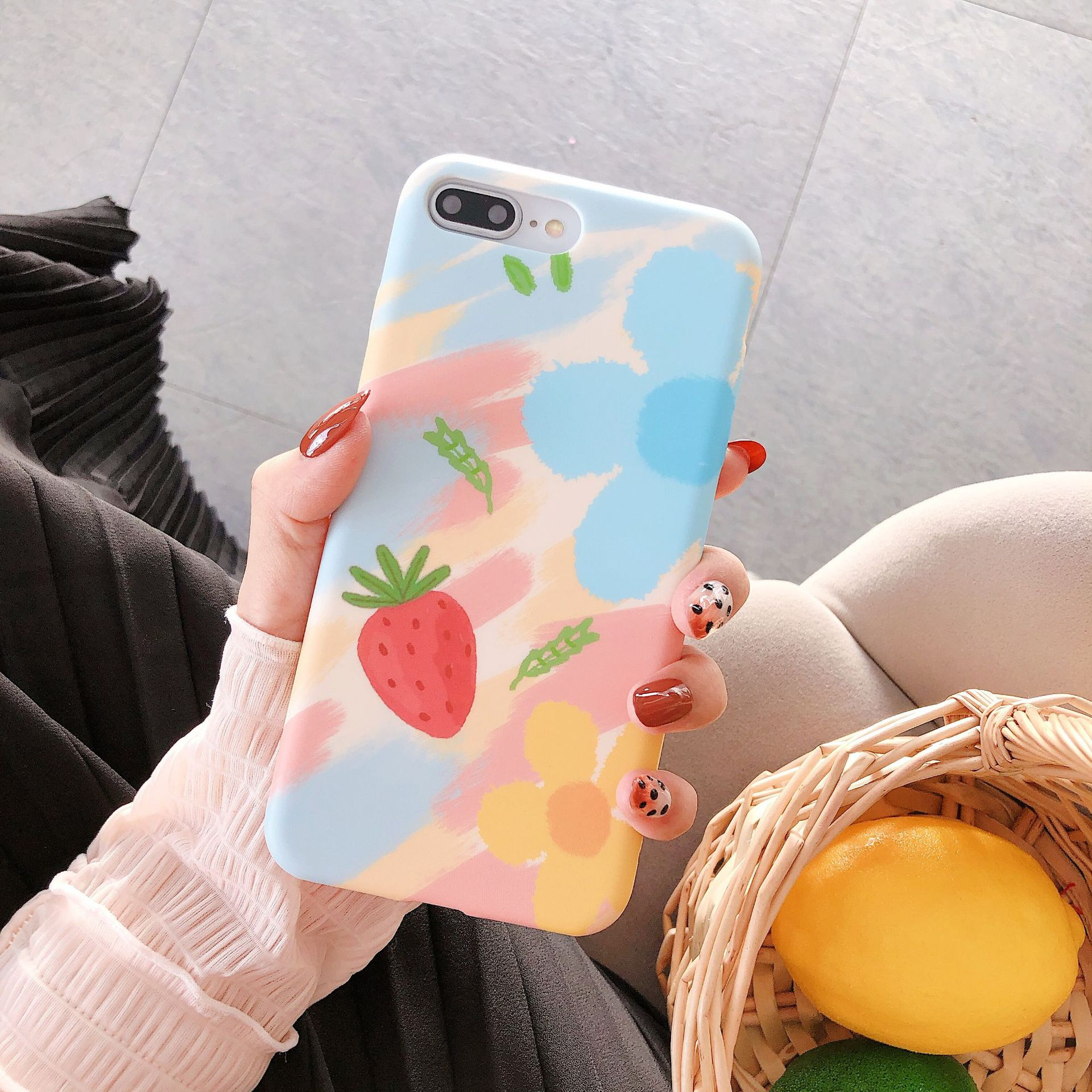 Estilo coreano bonito morango para o caso 11 pro max xr iphone 7 6s caso macio feminino para iphone 8 plus 11 caso 6.1 polegada floral