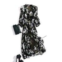 100 silk woman dress summer 2021 floral shirt dress female korean long dresses for women casual vestido de mujer pph4778