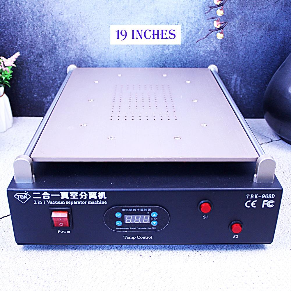 Built-in Vacuum Pump 19 Inch For I Pad/ Tablet LCD Vaccum Large Size Separator Pressing Machine Screen Burst Repair TBK-968D
