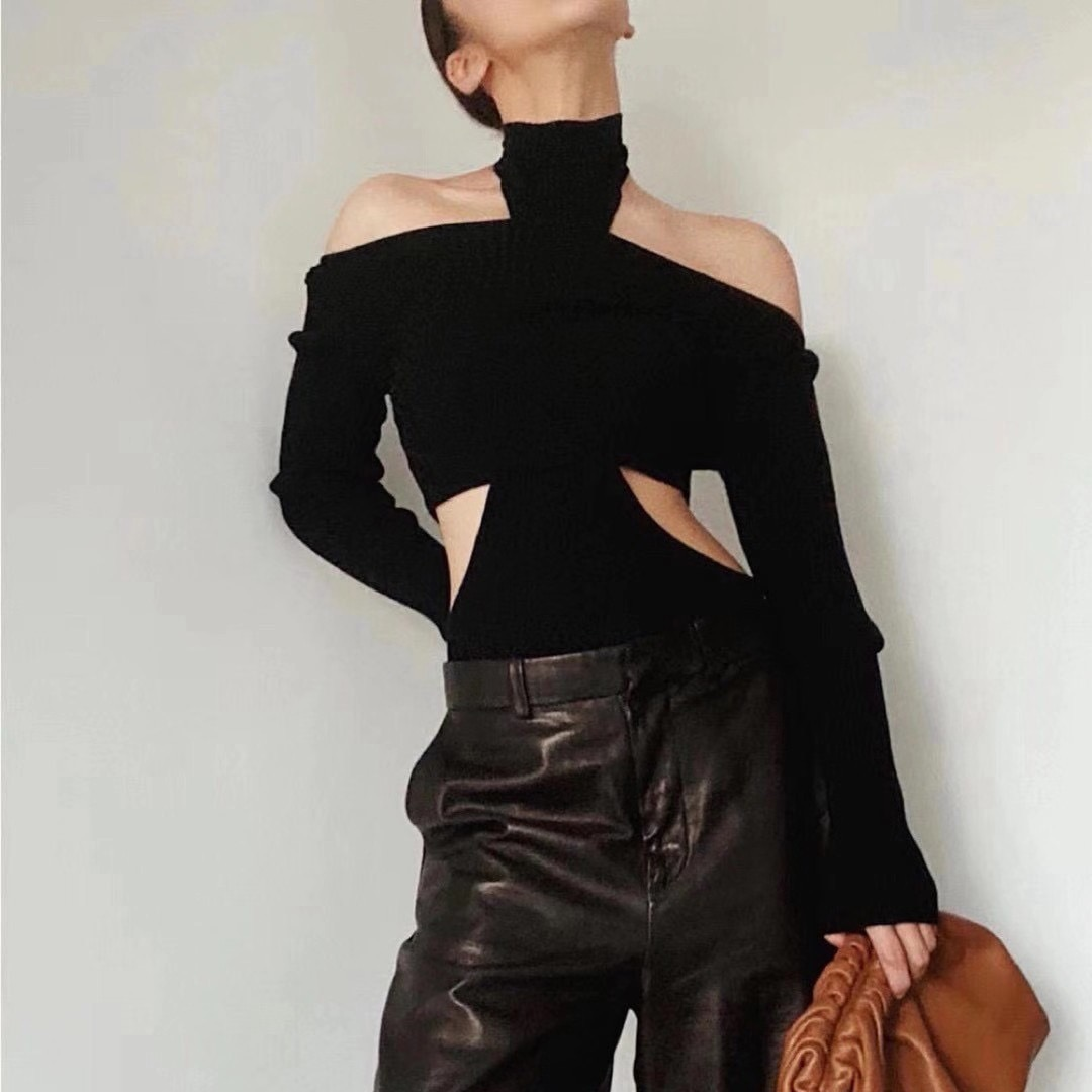 Women Sweater Hollow Out Turtleneck Black Sweaters Women Asymmetry Off Shoulder Turtleneck Pullovers  Knitting Tops 2020 Fashion enlarge