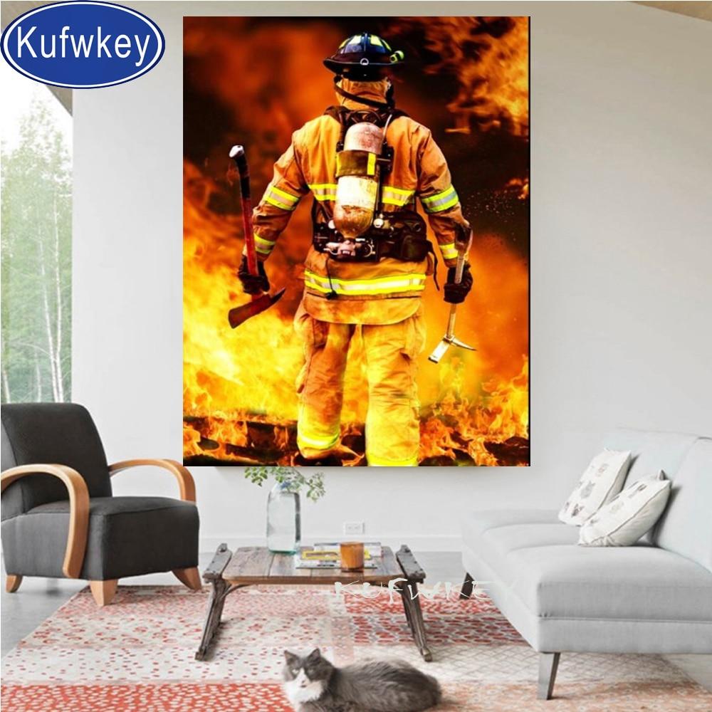 Diamante quadrado completo pintura bombeiro herói ponto cruz conjunto diamante bordado broca redonda cheia mosaico quebra-cabeças fogo presente do escritório,