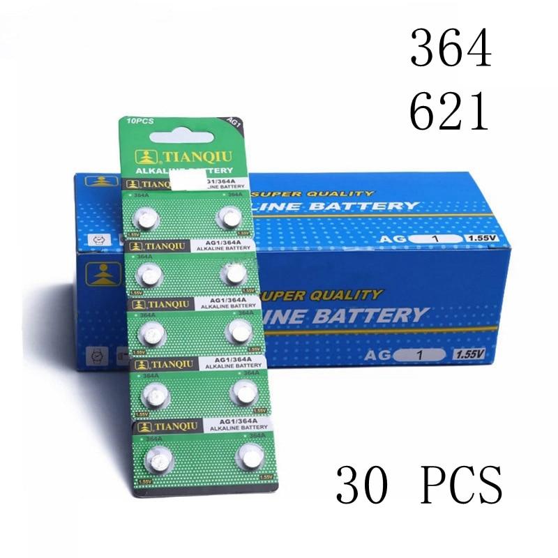 30 Uds 621 reloj batería AG1 LR621 364A SR621SW 1,55 V Botón de batería para reloj moneda 364 batería electrónica