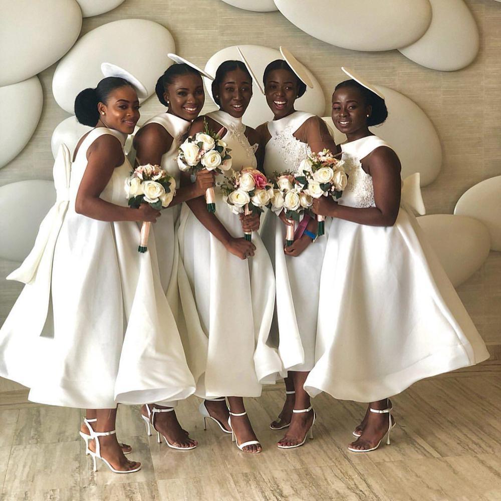فستان طويل من الساتان لوصيفات العروس ، ياقة رسن ، خط ، نمط بوهو ، ملابس سهرة رسمية لضيوف الزفاف ، مجموعة 2020