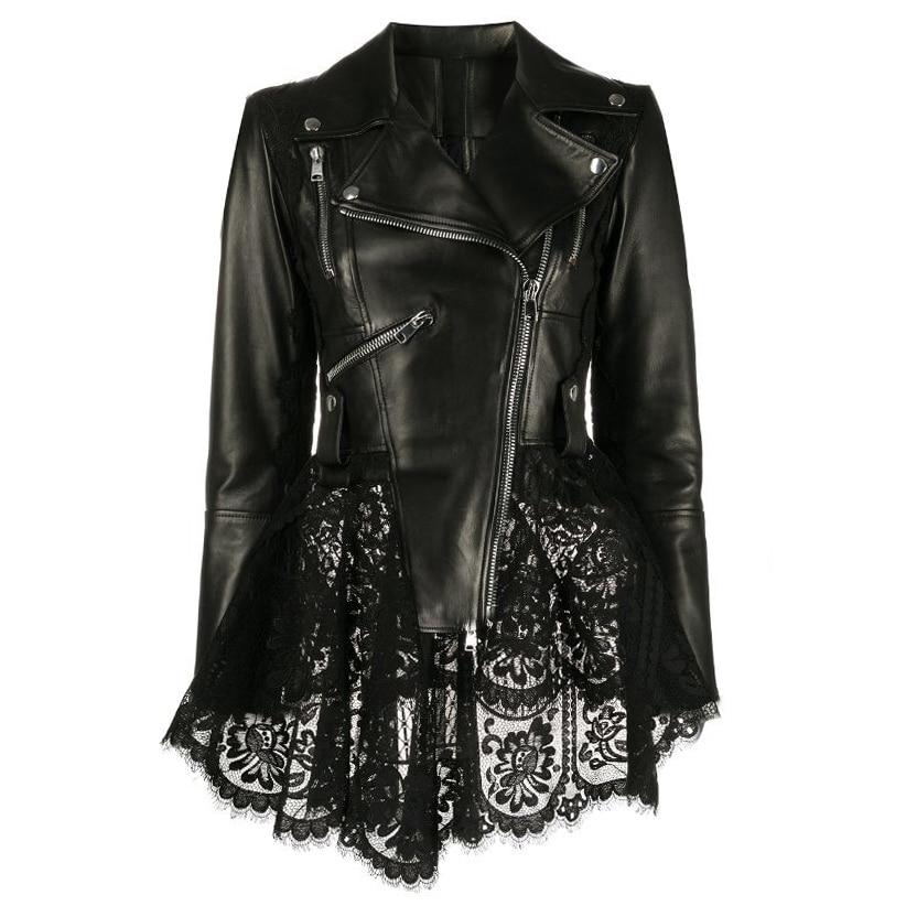 New Spring Genuine Leather Jacket Slim Women Lace Hem 100% Real Leather Coat with Zipper Locomotive
