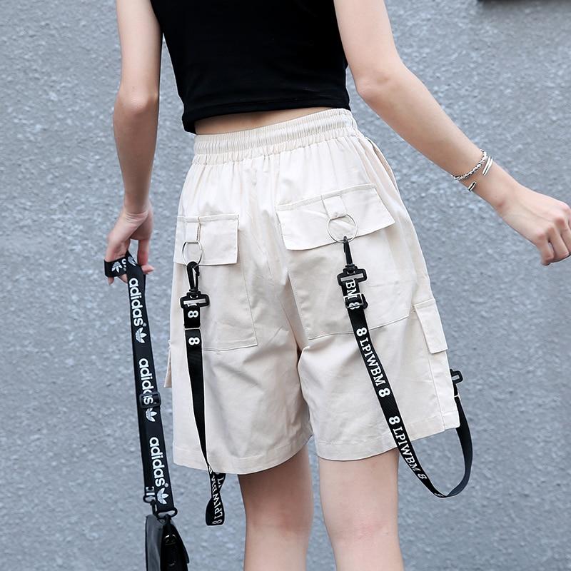 Модные женские летние уличные брюки, женские повседневные короткие брюки с высокой талией и завязками, женские свободные брюки размера плю...