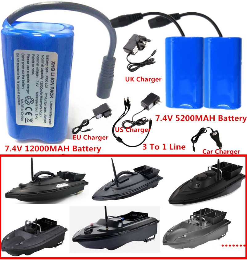 7.4V 12000Mah 5200Mah Battery 3To1 Line ChargerFor T188 T888 2011-5 V007 C18 H18 So on Remote Contro