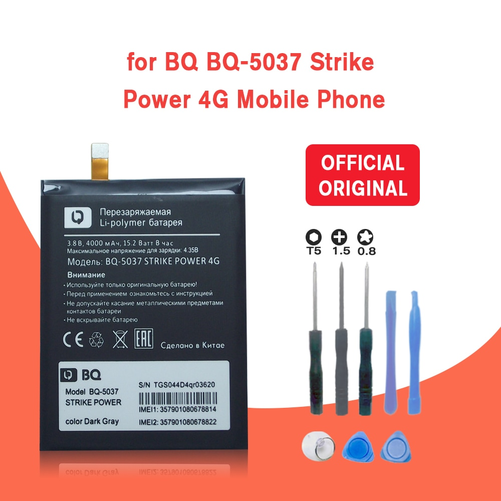 New 4000mAh BQ-5037 Replacement Battery Batterie For BQ 5037 Strike Power 4G Mobile Phone Batteries+Tracking + Tools недорого