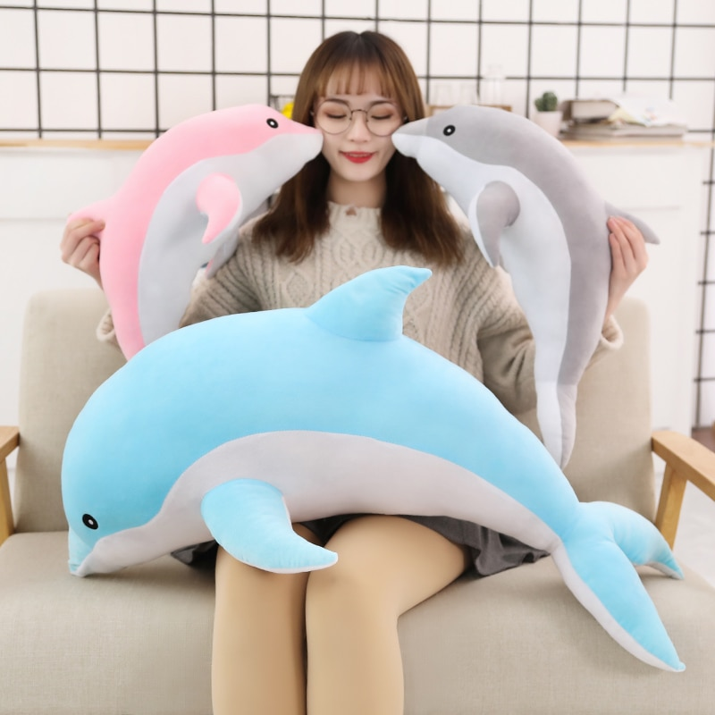 25cm free shipping kawaii cat plush pillow with zipper pp cotton biscuit shape plush animal doll toy children s christmas gift Free Shipping Cute soft dolphin plush toy doll cotton animal nap pillow creative children's toy girl Christmas gift
