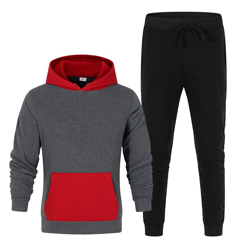 2021 spring new men's hoodie suit fashion contrast stitching sportswear running fashion casual two-piece clothes size S-3XL