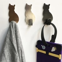 Crochets muraux auto-adhesifs a motif de chat  2 pieces  pour salle de bains  cuisine  baton sur porte suspendue  vetements  porte-serviettes