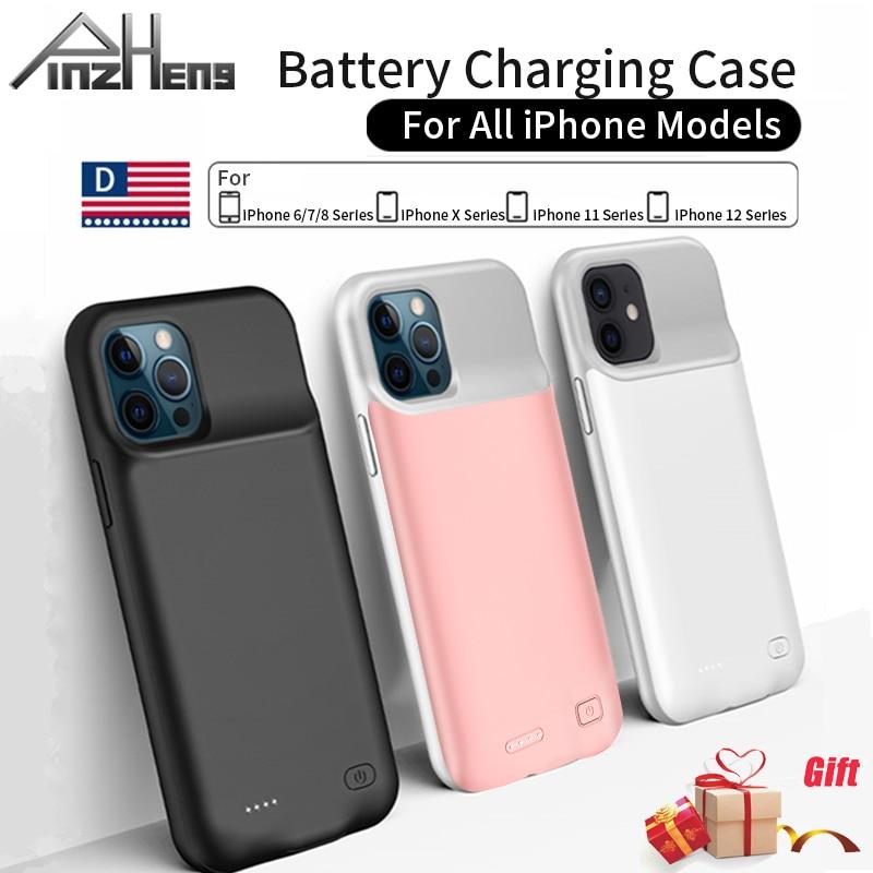 Зарядный чехол PINZHENG, для iPhone 7 8 6 6S Plus X XS 12 11 Pro Max, портативное зарядное устройство | Мобильные телефоны и аксессуары | АлиЭкспресс