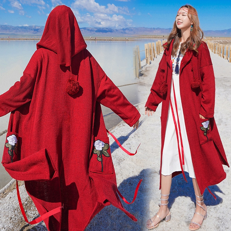 #3913 Spring Autumn Red Long Coat Women With Hood Vintage Trench Coat For Women Loose Embroidery Ove