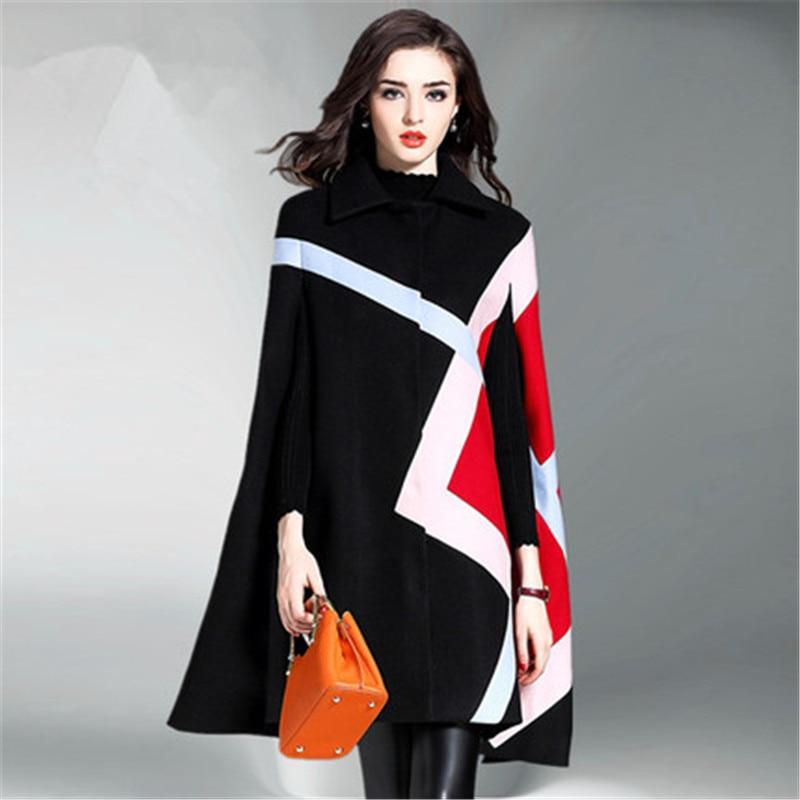 Moda abrigo tipo trench largo chal de lana abrigo femenino coreano 2020 nuevo otoño invierno abrigo para mujeres Ponchos capa de lana prendas de vestir exteriores N980