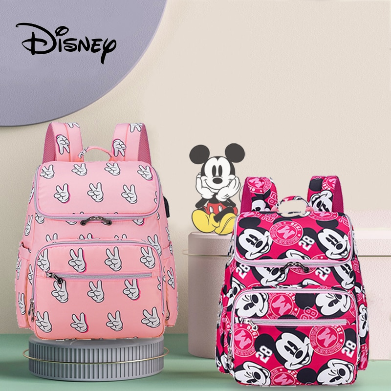 Disney Mickey Minnie Baby Care Diaper Bag Mommy Multifunction Nappy Bag Stroller Large Capacity Baby Travel Backpack Nursing Bag недорого