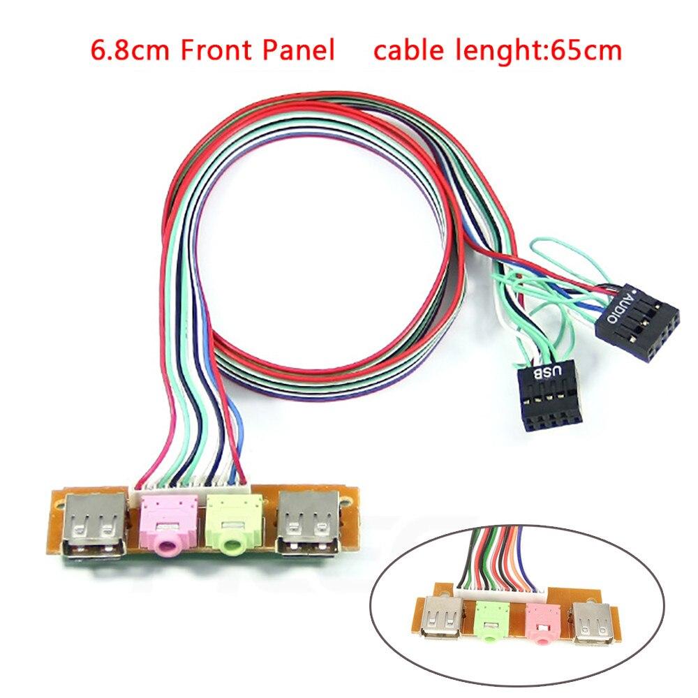 CARPRIE компьютерные аксессуары новый аудио кабель-адаптер 2 USB Компьютерный корпус для ПК 6,8 см Передняя панель USB аудио порт микрофон кабель для наушников