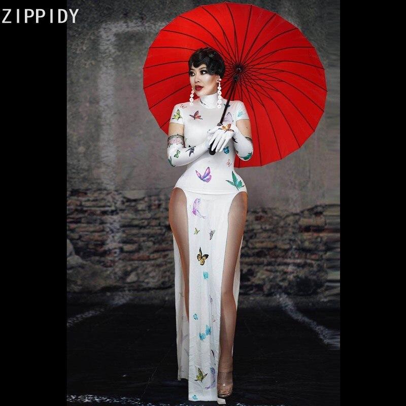 فستان أبيض طويل ، قفازات منقوشة على شكل فراشة ، شريط ، امرأة راقصة ، مغنية ، شيونغسام ، فستان أعياد الميلاد ، حفلة موسيقية ، 2020