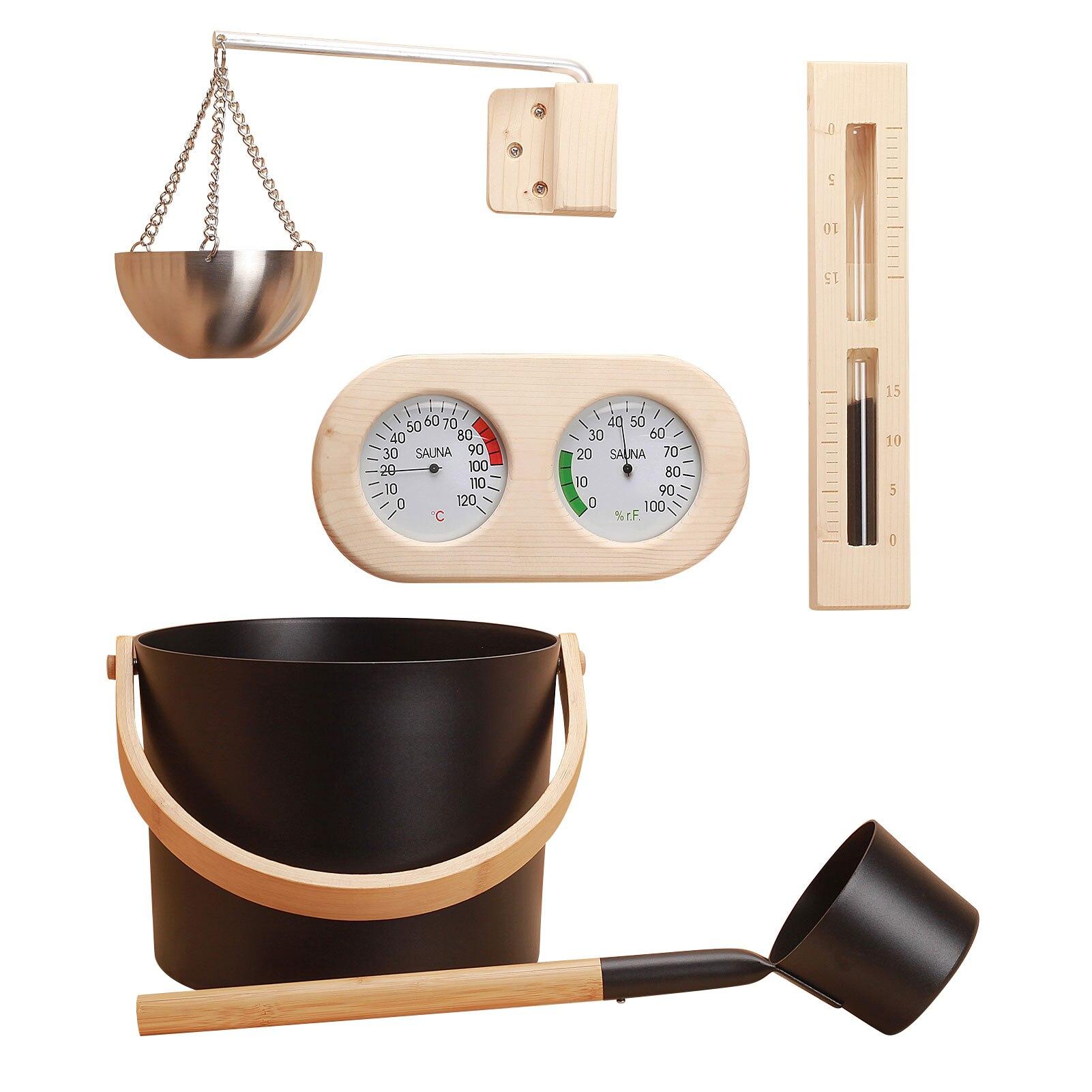 مجموعة معدات الساونا ، برميل خشبي ، مقياس درجة الحرارة والرطوبة ، ساعة رملية ، غرفة بخار ، ملحقات ساونا