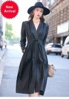 2020 autumn and winter fashion genuine leather coat womens personality pleated temperament slim sheep skin windbreaker coat