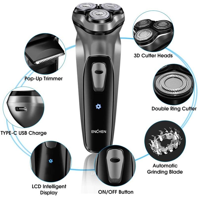 ENCHEN Blackstone Electric Face Shaver Razor For Men 3D Floating blade Washable USB Rechargeable Shaving Beard Machine