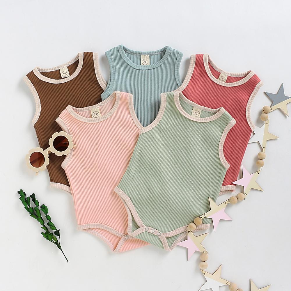 0-24M Summer Brand Sleeveless Solid Color Romper Jumpsuit Baby Boy Girl Cotton Outfits Infant Cool Clothes