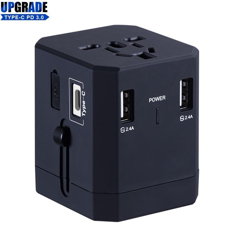 Universal Reise Adapter Weltweit Alle In One International Power Ladegerät AC Power Stecker Adapter Mit 3 USB Ports