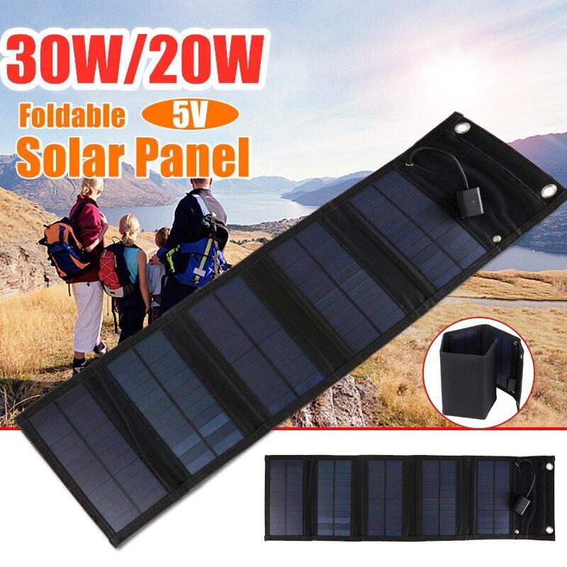 30 واط طوي USB لوحة طاقة شمسية الخلايا الشمسية المحمولة لوحة شمسية قابلة للطي لوحة طاقة شمسية شاحن في الهواء الطلق موبايل شاحن بطارية الطاقة