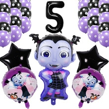 30 Teile/los Vampirina Hexe Luftballons 30 zoll Schwarz Anzahl Ballon Geburtstag Party BaloonDecor Helium Folie Halloween Party Latex Kugeln