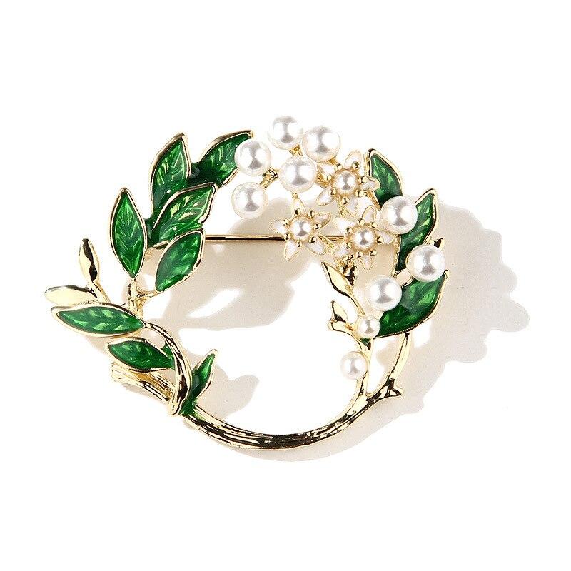 XDPQQ moda simple esmalte gota de aceite aleación Flor de Gardenia pasador con broche para mujer pin accesorios broche