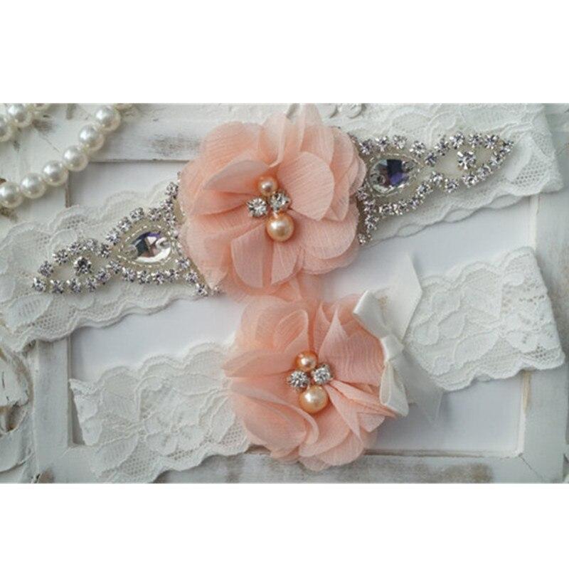 1 par Vintage boda Diamante de imitación pierna Liga lanzamiento blanco encaje elástico con melocotón gasa flor boda ligas nupcial
