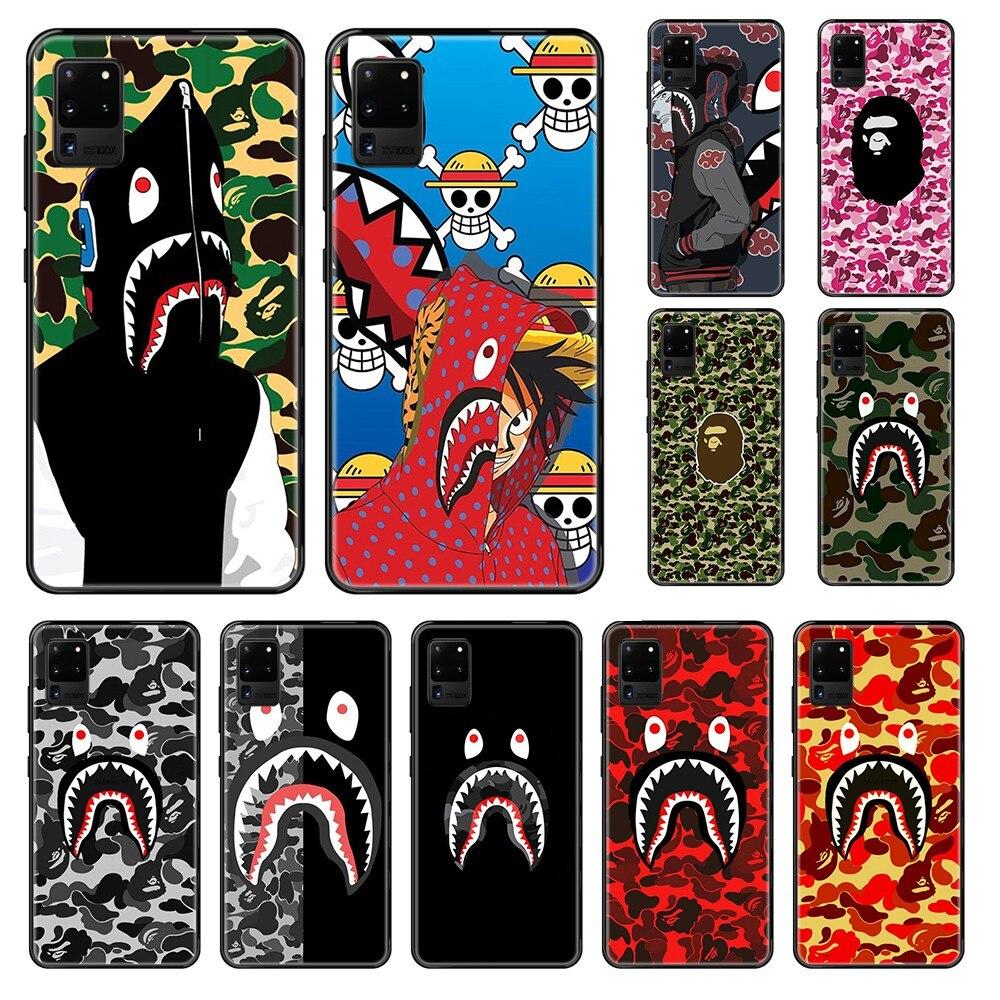 Funda de teléfono negra Etui de la marca japonesa de lujo Bape painting 3D shell para Samsung Galaxy S 3 4 5 6 7 8 9 10 Plus Lite Edge
