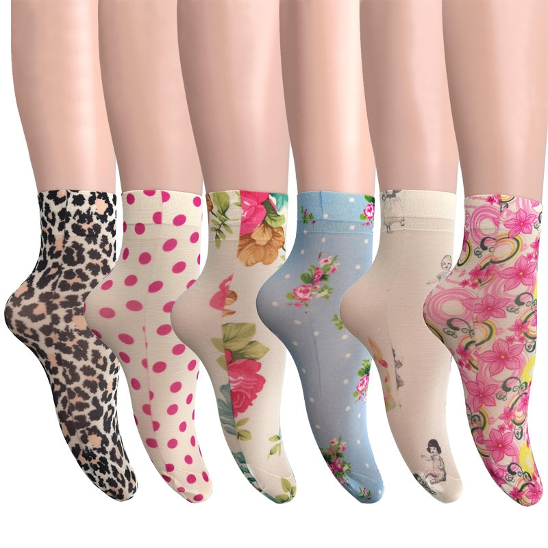 KASURE New Fashion Flower Butterfly Pattern Print Women Ankle Socks Elastic Spring Summer Soft Ladies