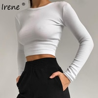 Женская футболка с длинным рукавом, круглым вырезом