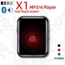 Reproductor de audio completamente táctil BENJIE X1 con Bluetooth, MP3, MP3, reproductor de audio portátil con altavoz integrado, Radio FM, grabadora, E-Book