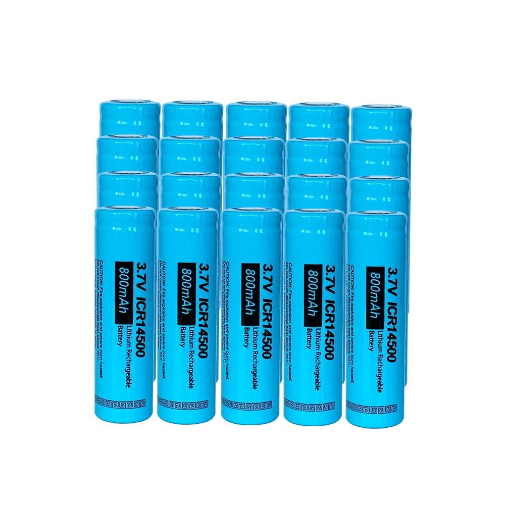 20 baterias recarregáveis 3.7 14500 mah da bateria do li-íon de icr14500 750 v da bateria do aa dos pces pkcell para a parte superior lisa da lanterna elétrica