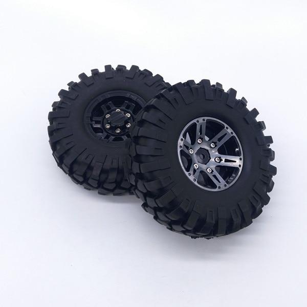 1 neumático de goma de 1,9 pulgadas Rock Crawler, neumático de rueda de 108mm con cubo de rueda para coches RC 1/10 RC4WD Axial CC01 SCX10 90046 D90