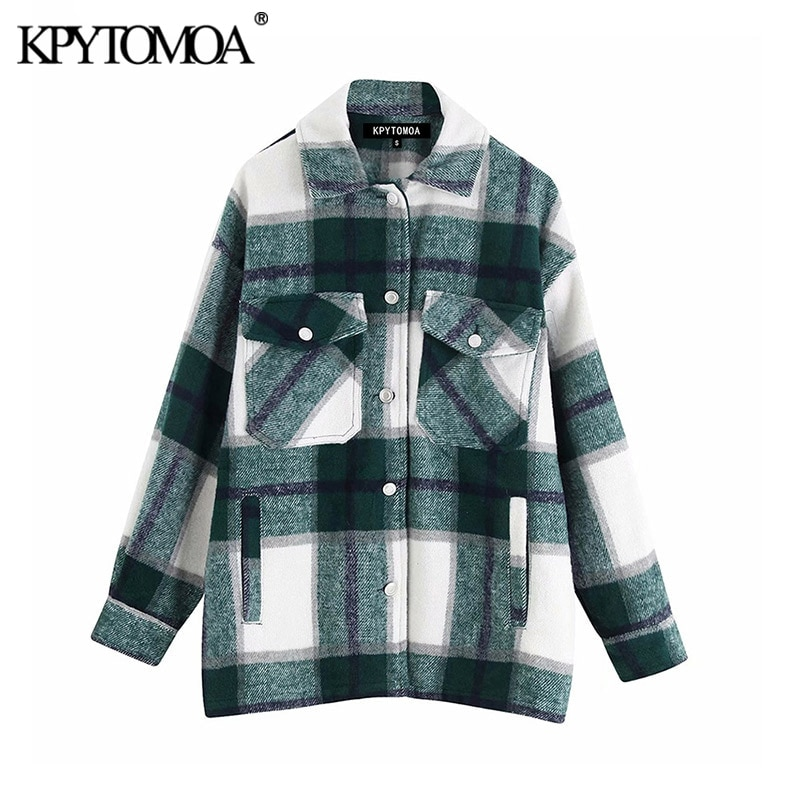 Vintage Stylish Pockets Oversized Plaid Jacket Coat Women 2020 Fashion Lapel Collar Long Sleeve Loos