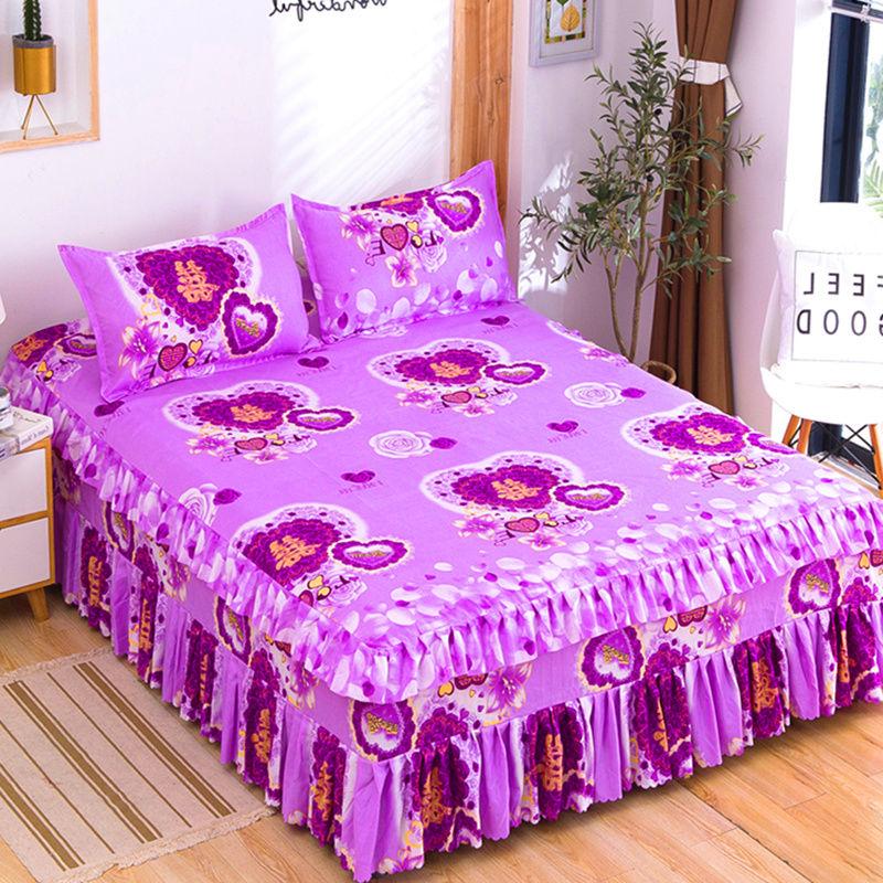 3pcs/set Bedding 1 Bed Sheet + 2 Pillowcase Fashion Autumn Bedding Non-slip Bed Skirt Fitted Mattress Bedroom Purple F0016