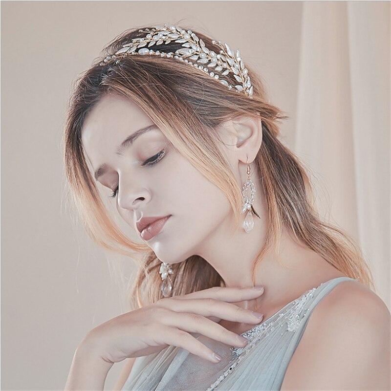 جديد الزفاف التيجان اليدوية العروس تيارا عقال الكريستال الزفاف الإكليل الملكة تاج مع أقراط الزفاف إكسسوارات الشعر