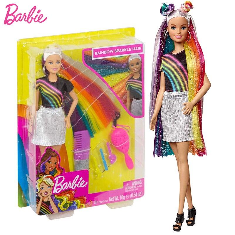 Muñeca Barbie de moda para niñas, pelo brillante de arcoíris con accesorios...