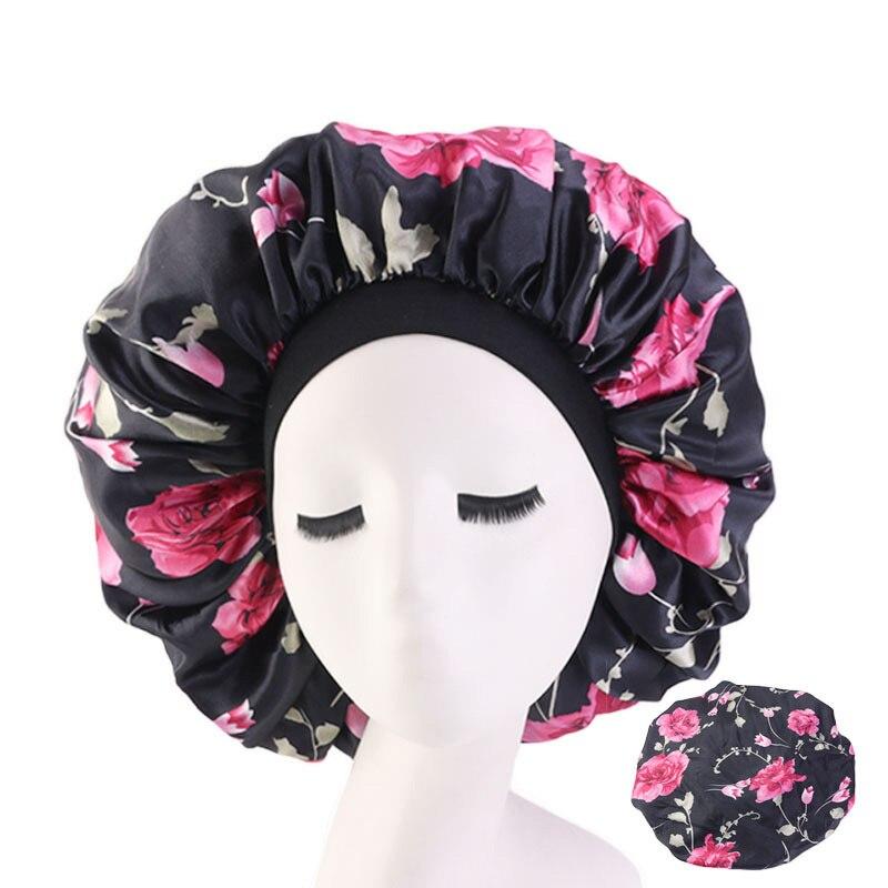 Senhora extra grande estilo de cabelo caps sleep cap com elástico para mulheres feminino casual cetim bonnet dormir suave cuidados com o cabelo