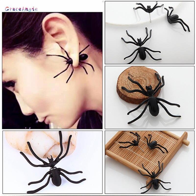 GraceAngie 1 par titanio acero negro araña escorpión oreja Stud personalidad pendientes Halloween cuerpo Punk Piercing joyería