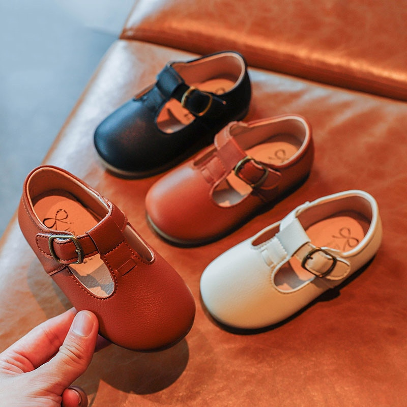 Autumn Girls Leather Shoes Fashion Solid Color Baby Girl Shoes Casual Kids Sneakers Soft Bottom Toddler Shoes Size 21-30 SZ256