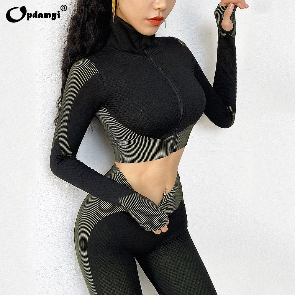 New Women Sports Yoga Set Zipper Crop Tops Long Sleeve Gym Fitness Leggings Seamless Sportswear Tight Pants High Waist Yoga Suit