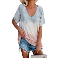 women oversized t shirt gradient color short sleeve tops casual loose streetwear pocket sexy deep v neck ladies tee shirts