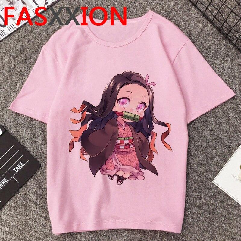 Camiseta Demon Slayer para mujer/hombre, estética Kawaii, Anime japonés Kimetsu No Yaiba, camiseta gráfica Grunge Harajuku, camiseta femenina