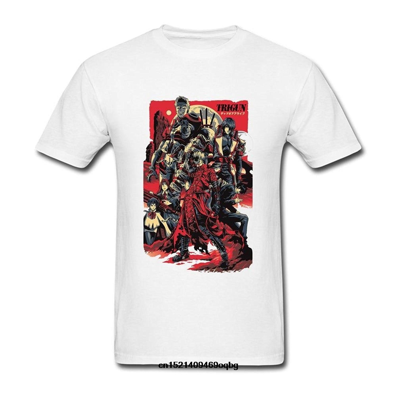 Cuello redondo de moda Casual de alta calidad de impresión camiseta Trigun Anime Poster arte camiseta para hombres